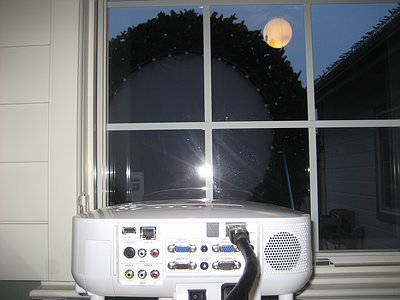 Projector aimed out window